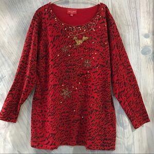 Jack b Quick Christmas Tunic Sweater Cheetah XL